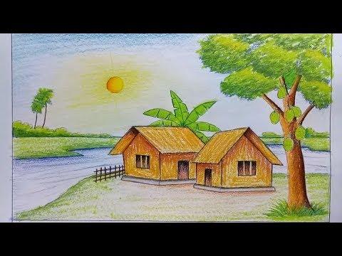 صورة رسم منظر طبيعي , اجمل الرسومات المسليه للطفل من الطبيعه