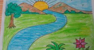 صوره رسم منظر طبيعي سهل للاطفال , اجمل الرسومات الخاصة بالاطفال