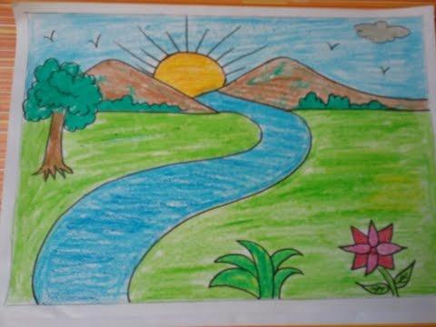 صورة رسم منظر طبيعي سهل للاطفال , اجمل الرسومات الخاصة بالاطفال
