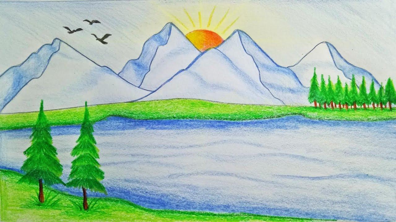 بالصور رسم منظر طبيعي سهل للاطفال , اجمل الرسومات الخاصة بالاطفال nature pictures easy to draw nature scenery drawing with easy how to draw scenery of mountain