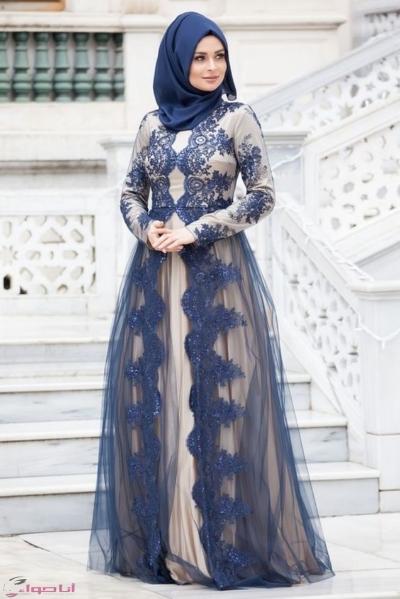 صورة فساتين سواريه 2019 للمحجبات , احلى فستان سوارية 2485 9
