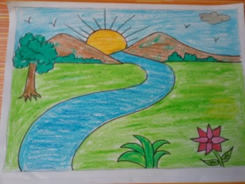 صورة رسم منظر طبيعي للاطفال , رسومات سهلة عن الطبيعة 169 2