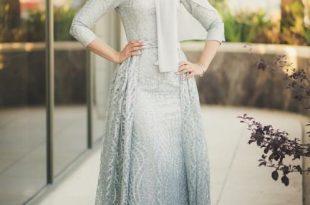 صورة فساتين سواريه للمحجبات , كولكشن روعة لفستان سهرة للبنات المحجبة