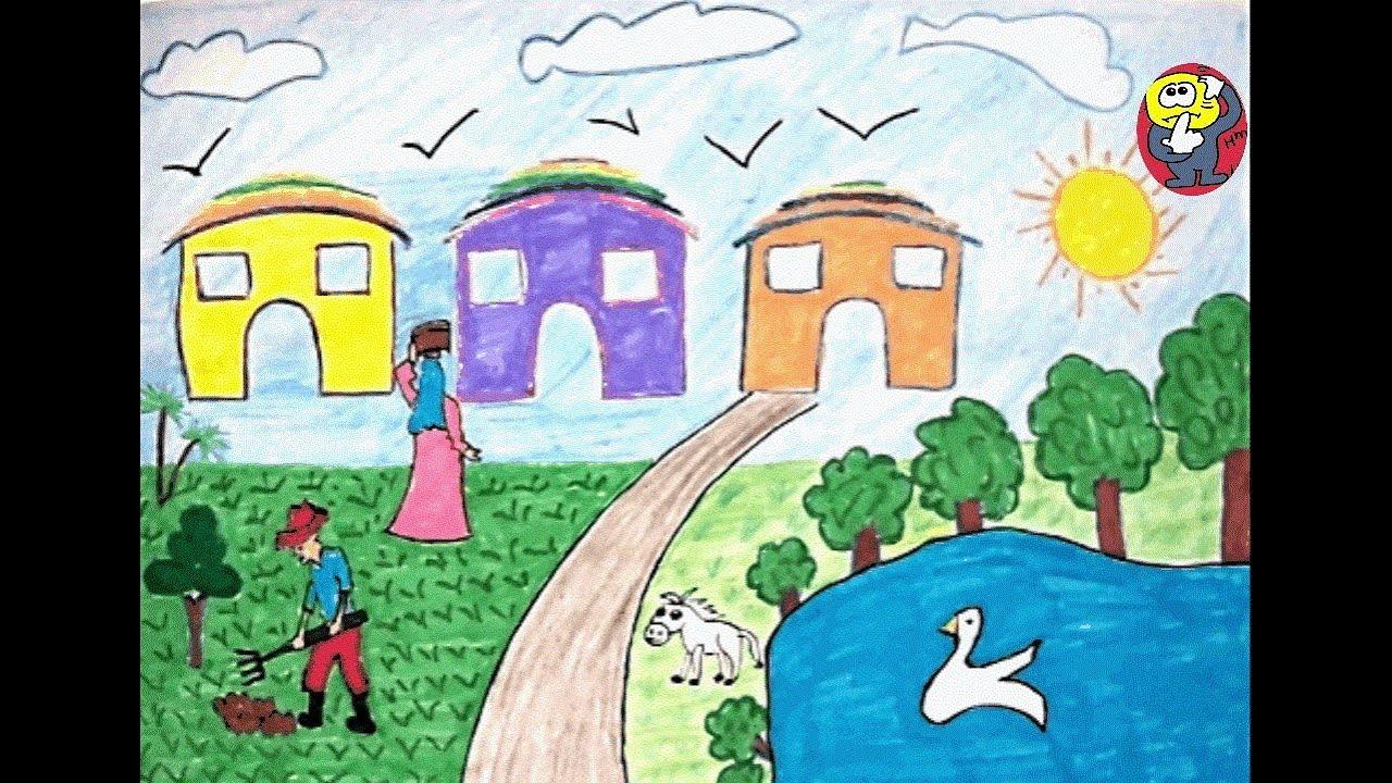 صورة موضوع رسم عن الريف , افضل موضوع رسم عن منطقة الريف